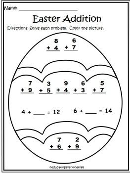 Addition worksheets Easter and
