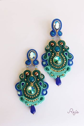 "https://www.facebook.com/rejegioielliinsoutache Haute couture soutache earrings ""Sea Garden"", entirely hand-sewn, handmade in Italy -Reje creations-"