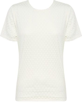 Liz Jordan Spot Mesh Top With Lace Sleeve $79.95 AUD  Short sleeve spot mesh top with lace sleeve and neck trim, back keyhole with button and eye for fastening, polyester knit lining 48% Nylon 48% Cotton 4% Polyester  Item Code: 047182