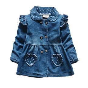 2016 New Girls Denim Jackets Lovely Heart Protect Dot Baby Outerwear Jackets For Girls Long Sleeve Girls Jeans Jackets Clothes
