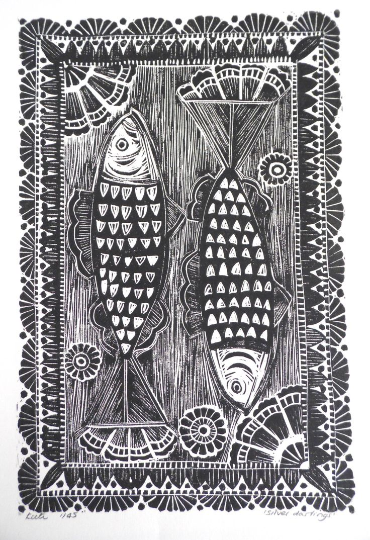 Herring fish Original Lino Print by myartcreations on Etsy https://www.etsy.com/listing/160290304/herring-fish-original-lino-print