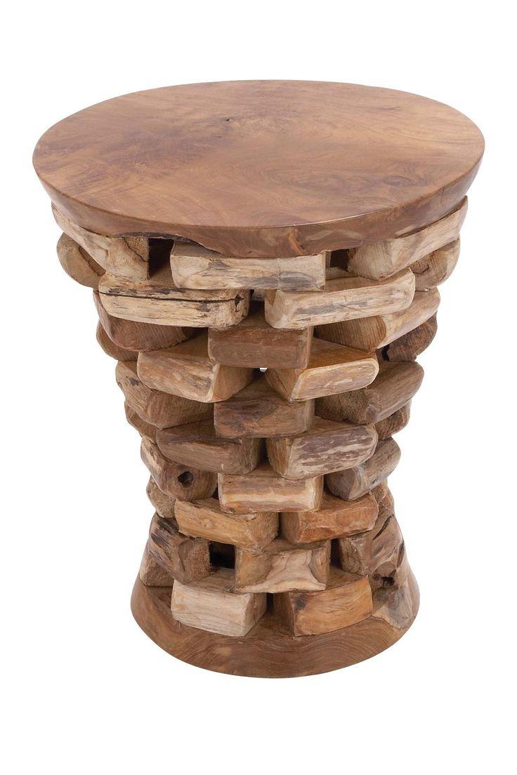 Stacked Teak Wood Side Table   HauteLook