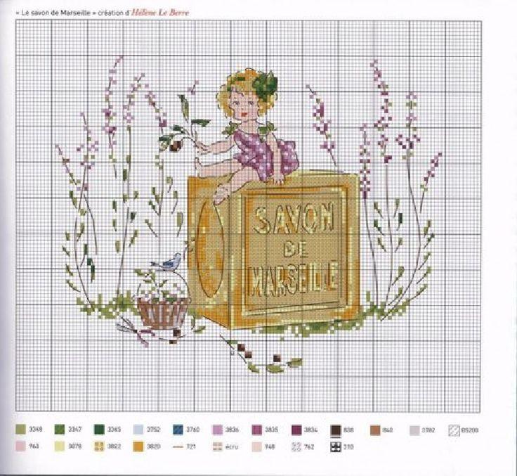 0 point de croix grille et couleurs de fils petite fille sur savon de marseille et lavande d'helene le berre