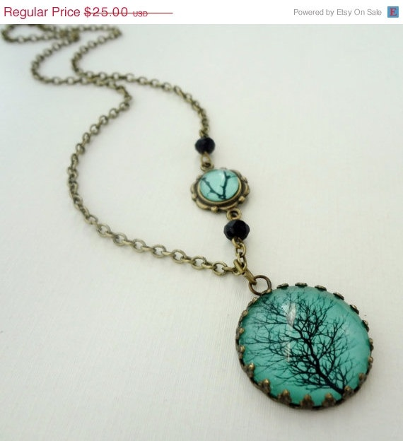 Aqua Winter Tree Necklace.Trees Necklaces, Winter Trees, Aqua Winter, Necklaces Black, Turquois Jewelry, Black Branches, Turquoise Jewelry, Long Necklaces, My Style