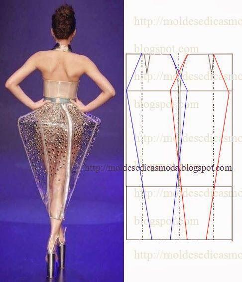 TRANSFORMAÇÃO MOLDE DE SAIA Desenhe o molde base frente e costas. Desenhe a altura da saia. Divida os espaços e desenhe linhas. Desenhe linhas oblíquas da