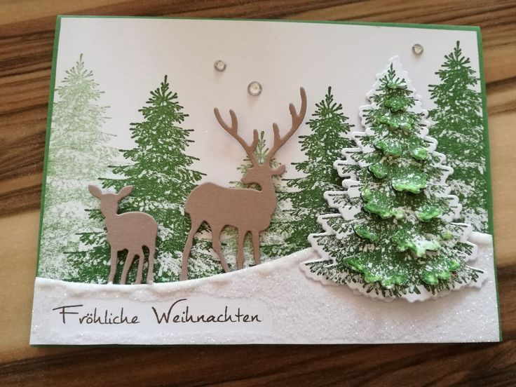 Weihnachtskarte Selber Basteln Mit Den Stempelsets Winterwald Aus