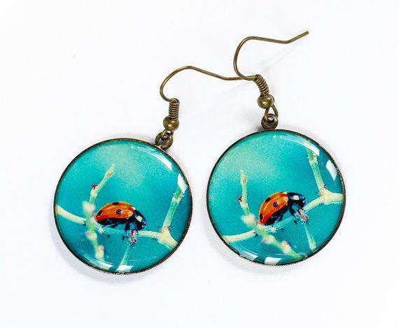Blu orecchini orecchini rosso insetto di JuliaDesignShop su Etsy