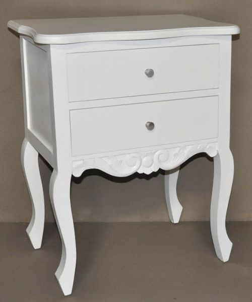 Bedside Table 2 Drawer 75 x 60 x 40 White Wash F2121 R