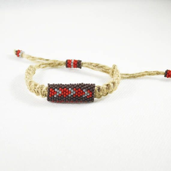 Natural Linen men bracelet Ethnic bracelets Brown gray red
