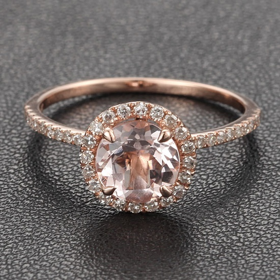 HALO 7mm Morganite .27ct Pave Diamond Claw Prongs 14K Rose Gold Engagement Ring--paired with a matching wedding band of three strands