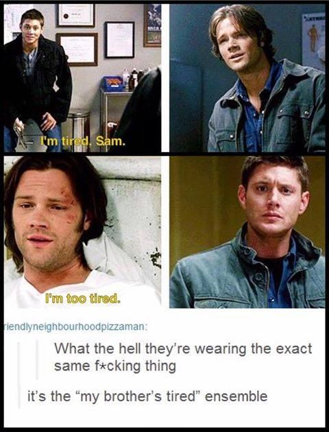 They went from Sam wearing Dean's hand-me-down's to Dean getting the things that Sam's outgrown.