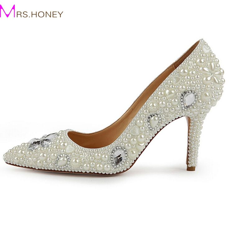 """>> Click to Buy << Office Lady High Heel Shoes Pointed Toe 3 """" Heel Wedding Shoes Lady Pumps Handmade Ivory Pearl Bride Bridesmaid Evening Shoes #Affiliate"""