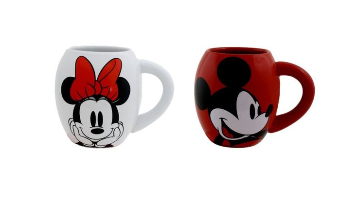 Minnie and Mickey Oval Ceramic Mugs