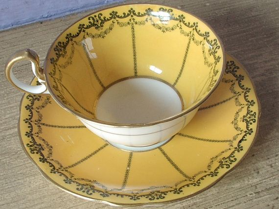 Antique Aynsley art deco tea cup set, vintage yellow orange tea cup and saucer, English tea set, blue and yellow china cup
