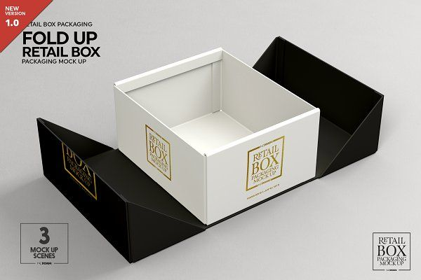 Download Fold Up Retail Box Packaging Mockup Packaging Mockup Free Packaging Mockup Box Packaging