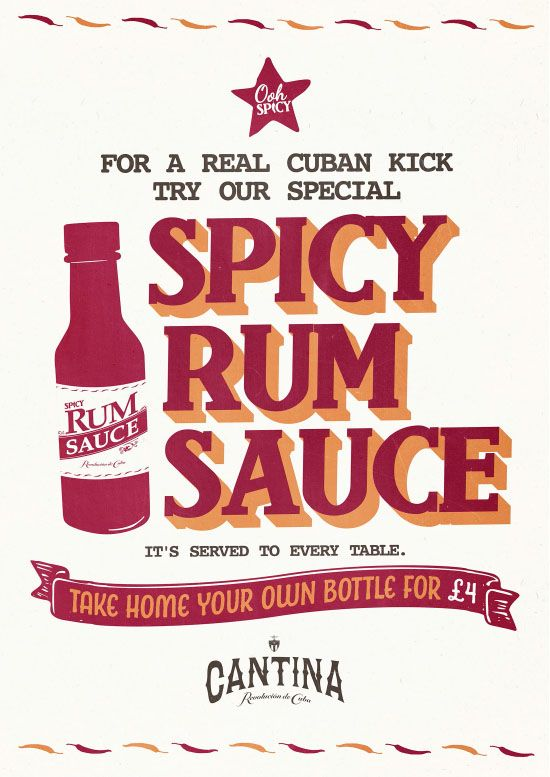 Cuban Rum Sauce Typography Graphic Design for Revolucion de Cuba by www.diagramdesign.co.uk