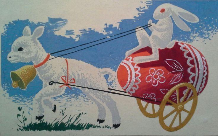 Vajda Lajos (1922 - 2008) Húsvéti plakát vagy képeslap reklám terve. Tempera,papír.  Mihály Gyűjtemény