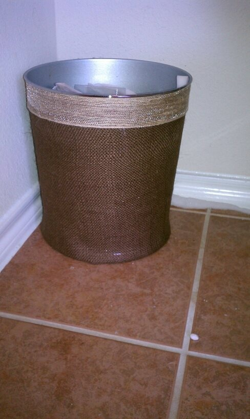 my bathroom trash can i redid with 2 different colors of burlap