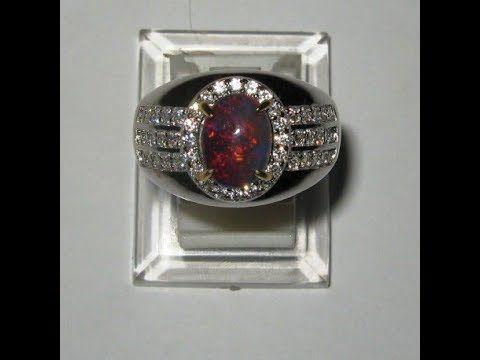 Cincin Black Opal Pria Silver 925 Ukuran 9.5US Luster Jarong Merah