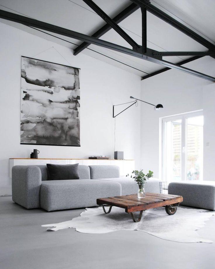 loft loftinterior wohnzimmer monochrom sofa couch   Wohnen, Haus deko, Wohnzimmer design