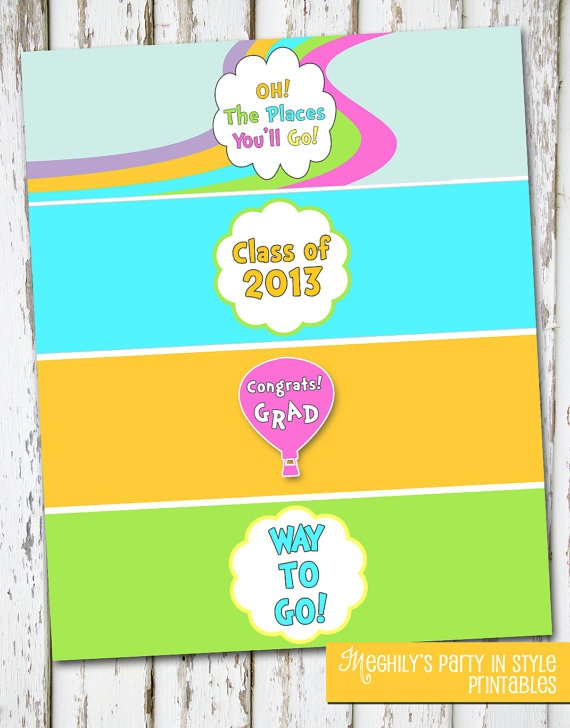 INSTANT DOWNLOAD   Oh The Places Youll Go Drink Wraps. 57 best 5th grade farewell images on Pinterest   Graduation ideas