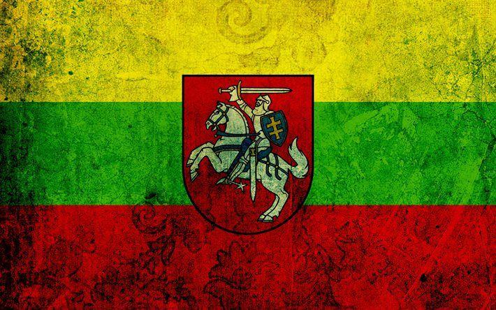 Lithuanian flag, grunge, flag of Lithuania, flags, Lithuania flag