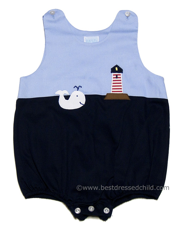 Betty Terrell Infant Baby Boys Navy / Blue Whale & Lighthouse Bubble