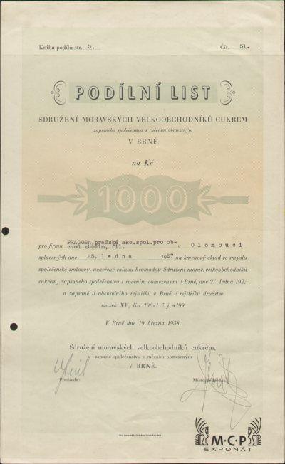 A0795 Muzeum cennych papiru / Sdružení moravských velkoobchodníků cukrem, zapsané společenstvo s ručením obmezeným v Brně, Podílový list na jméno(Namens-Anteilschein) 1 000 Kč Brno, 19.03.1938 / AZP3CZ166