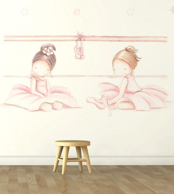 """Mural infantil de papel pintado """"Bailarinas IV"""""""