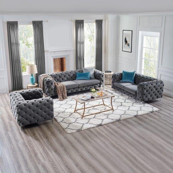 Corvus Aosta Tufted Velvet Loveseat and Sofa Living Room ...