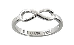 Infinity symbol rings with an engraved message inside the band make a sweet symbol of your undying affection