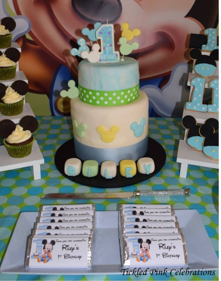 Baby Mickey Mouse 1st birthday party cake - table styled by www.tickledpinkcelebrations.com.au