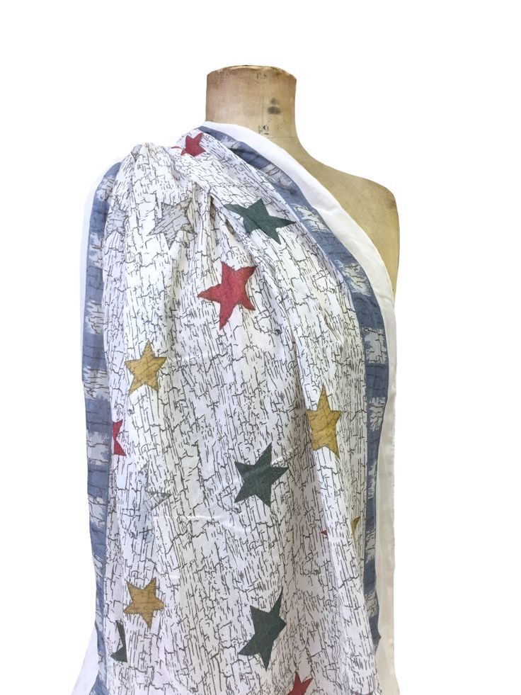 Hem & Edge scarf - weathered stars on wood #white #multi 50% cotton 50% viscose 80x180cm #creamwhites #scarf #accessories #onebutton #hemandedge Click to buy from the One Button shop.