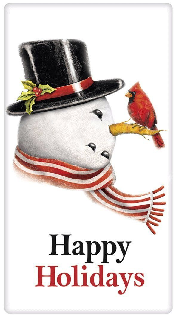Happy Holidays Snowman 100% Cotton Flour Sack Dish Towel Tea Towel