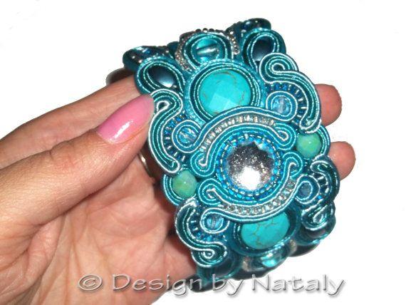 FREE SHIPPING Soutache Jewelry Bracelet  Teal  by DesignByNataly