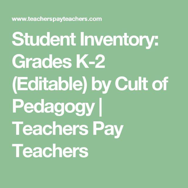 Student Inventory: Grades K-2 (Editable) by Cult of Pedagogy | Teachers Pay Teachers