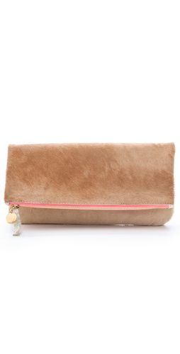 Clare Vivier Fold Over Haircalf Clutch