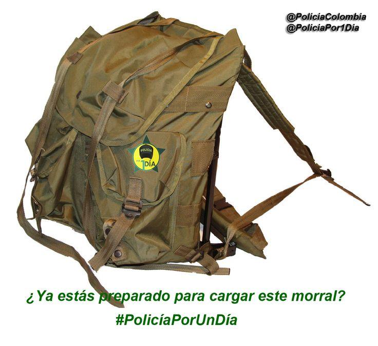 Debes estar física y mentalmente preparado para ser #PolicíaPorUnDía, este morral te espera.