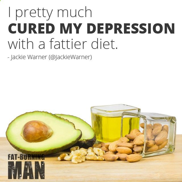 I pretty much CURED MY DEPRESSION with a fattier diet. - Jackie Warner, fat-burning, fatty foods, healthy fat, avocado, nuts, olive oil, fight depression