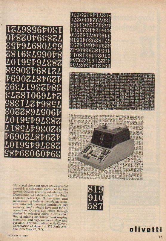 Divisumma 24 Printing Calculator Ad, Designed by Giovanni Pintori, 1958
