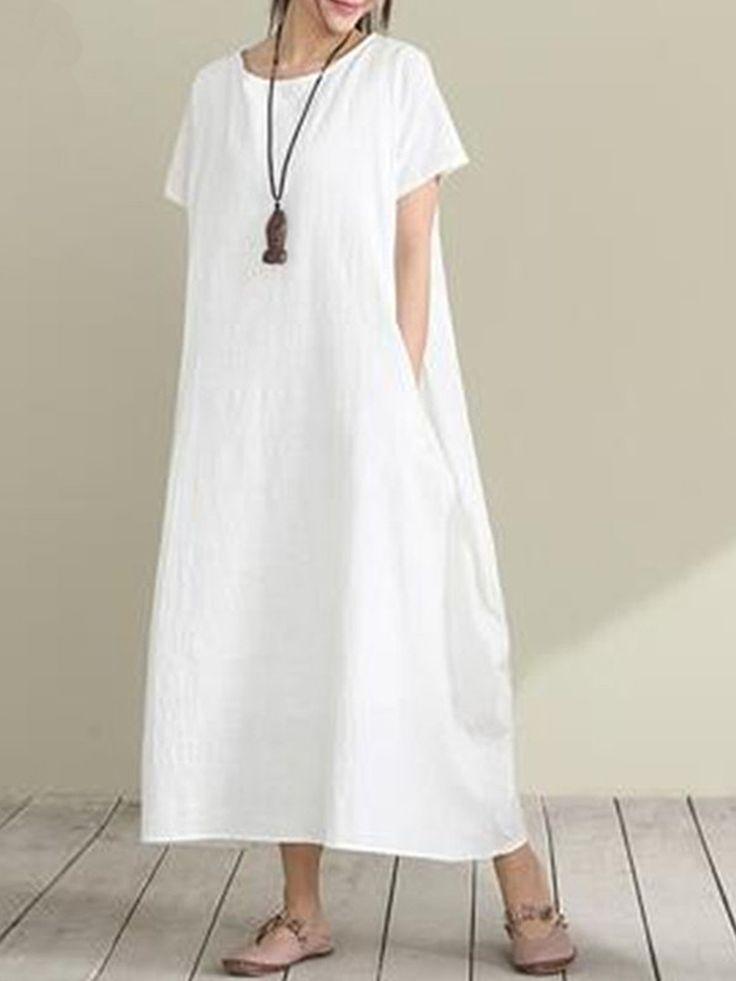 Lose Frauen Übergroße Maxikleid Kurzarm Taschen A-Line Kleider