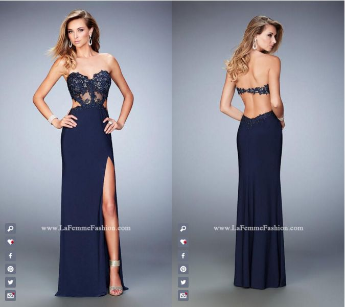 La Femme Prom style - 22352 long prom dress - navy prom dress - formal dress - side slit dress - open back - sweetheart neckline - side cutouts - embroidered - bead embellished