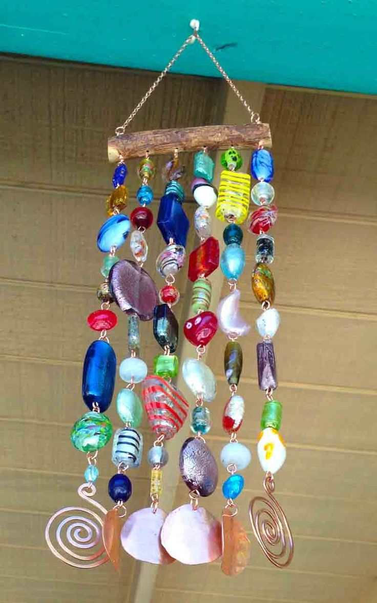 Glass Beaded Wind Chime - ( Windchime ) Suncatcher on Mesquite with Hammered Copper -- Bohemian. $32.00, via Etsy.