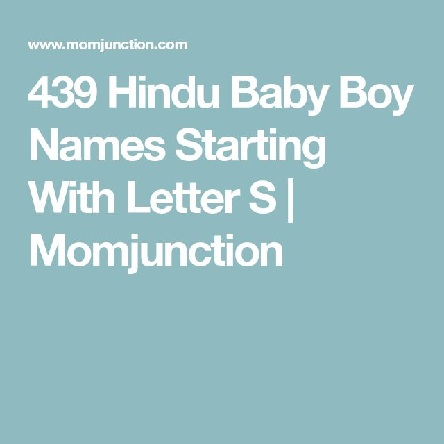 439 Hindu Baby Boy Names Starting With Letter S | Momjunction
