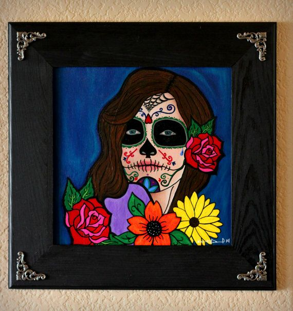 Paradis Sugar Skull painting by BellaMacabreBoutique on Etsy