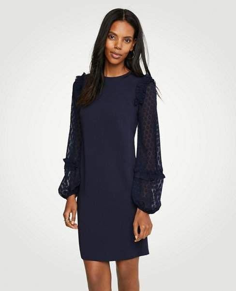 a69c09d6eeb Ann Taylor Petite Sheer Dot Sleeve Shift Dress   fashionforwomenover50outfitsover50style