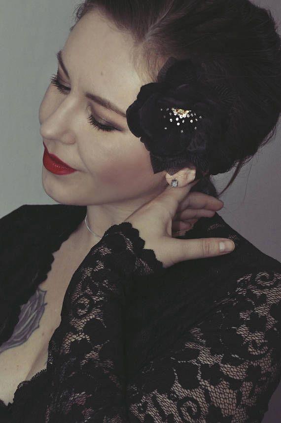 Black Velvet Rose Hair Flowers, Vintage fashion, vintage glamour