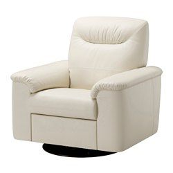 "IKEA $650 white swivel recliner  Soft, dyed-through 3/64"" thick grain leather that is supple and smooth to the touch. The outer surfaces are covered in a durable coated fabric with the same look and feel as leather. The armrests with extra padding are comfortable to lean against. The built-in footrest is easy to fold in and out. Just pull the handle to fold it out and press with your feet to fold it back in. 10-year limited warrranty. Read about the terms in the limited warranty brochure."