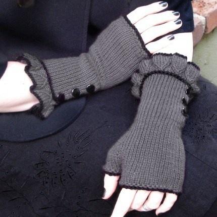 Belle Ruffle Gloves :: Neo Victorian Inspired ruffled fingerless gloves.