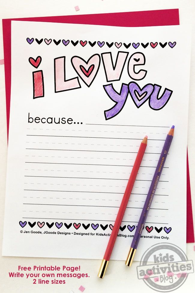 """""""I Love You Because"""" free printable Valentine's Day activity for kids. So sweet!"""